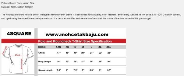 Saiz Ukuran T Shirt Mohcetakbaju Com
