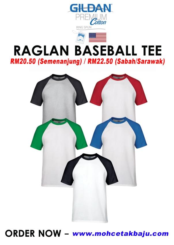 Baju Raglan Baseball Tee GILDAN