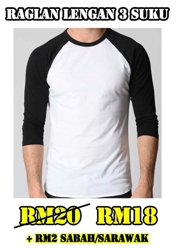 Design baju Raglan Body Putih Lengan Hitam