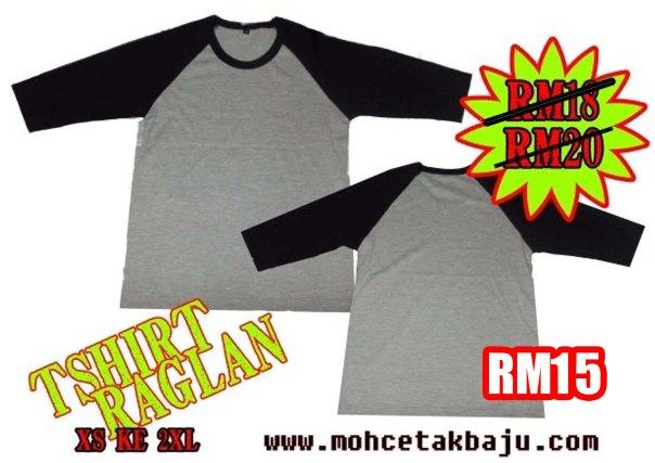 Baju Raglan kelabu hitam